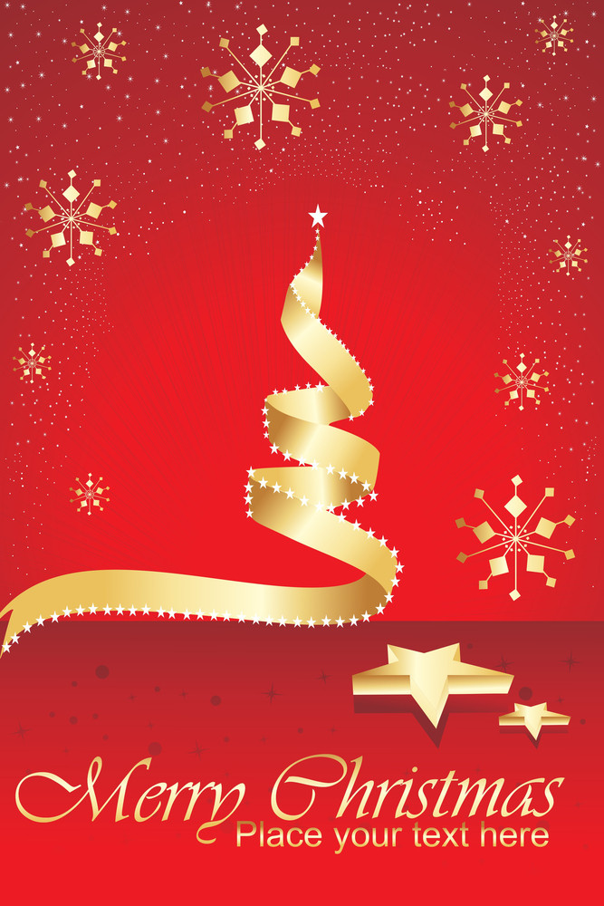 Red Stylish Pattern Background With Xmas Tree