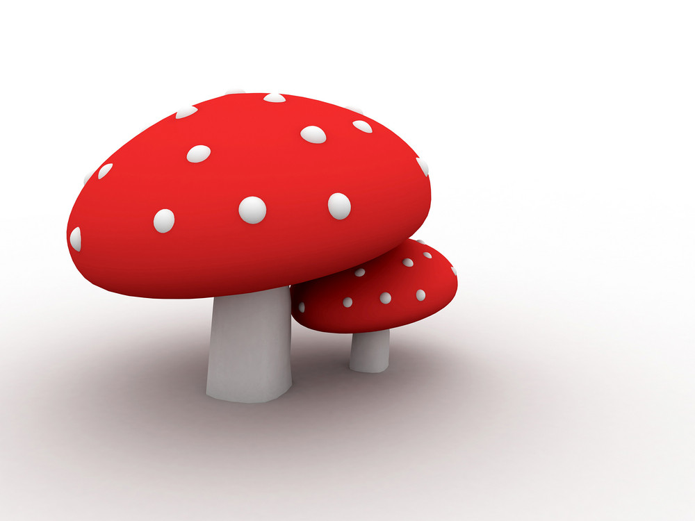 Red Toxic Mushrooms  Isolated On White