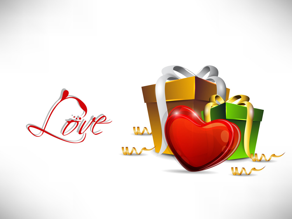 Red Valentine Heart With Colorful Gift Boxes.