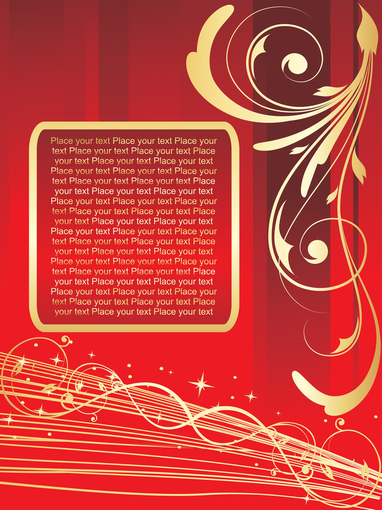 Red Vector Floral Ornamented