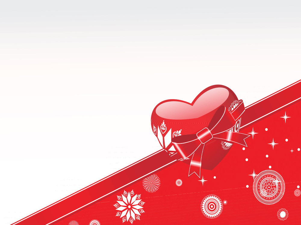 Red Vector Heart Knoted With Ribbon And Snowflake