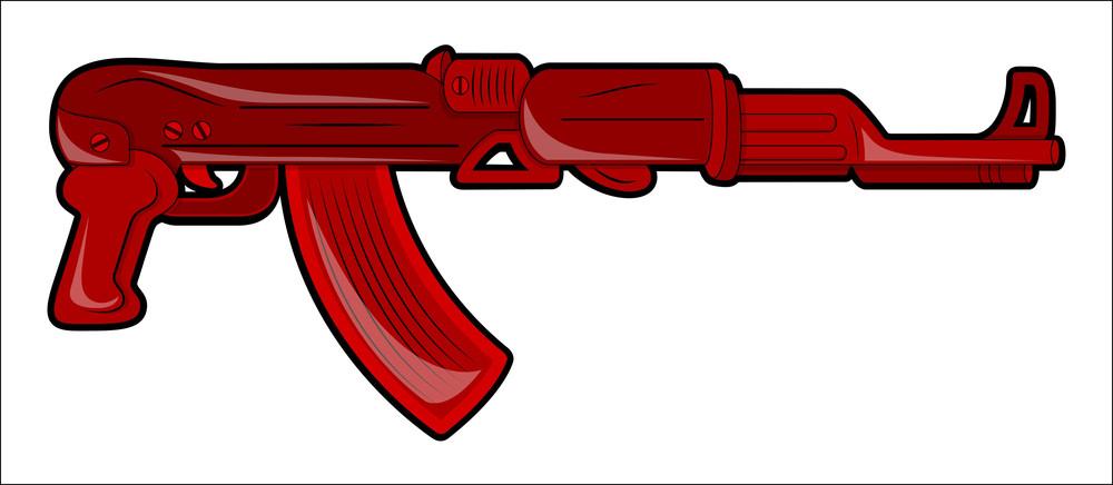 Red Vintage Modern Gun