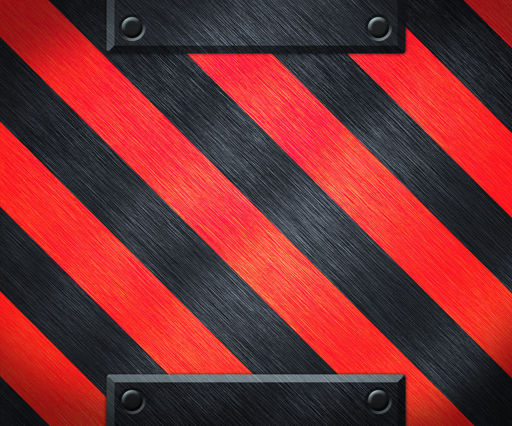 Red Warning Stripes Metal Background