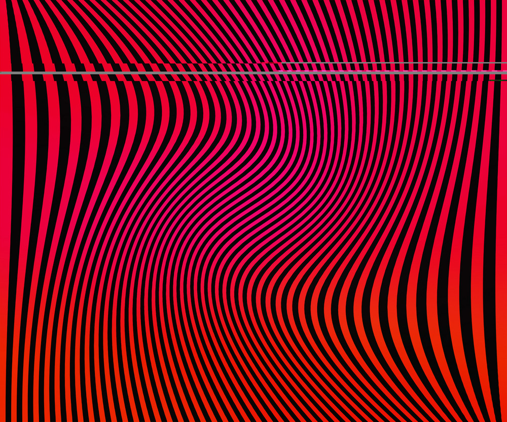 Red Wavy Stripes Background