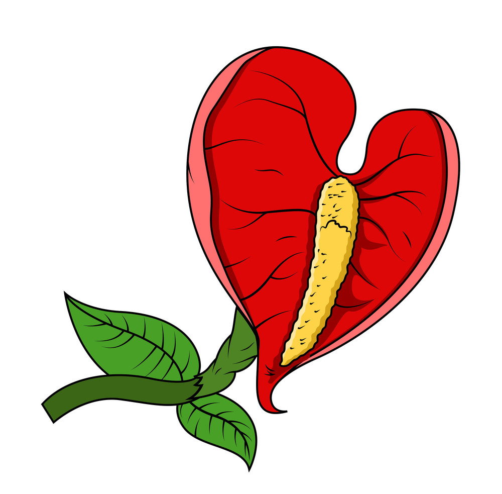 Red Wild Leaf Flower Vector