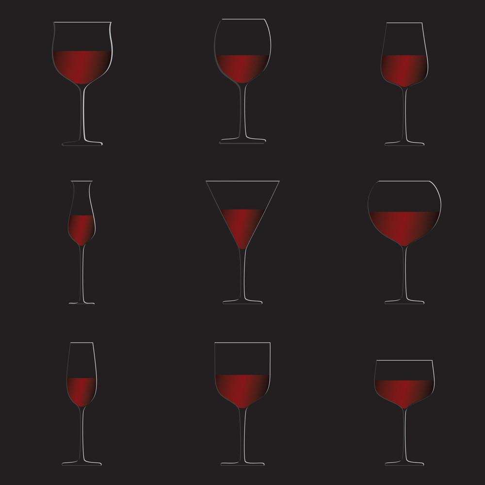 Red Wine Glasses Black Background