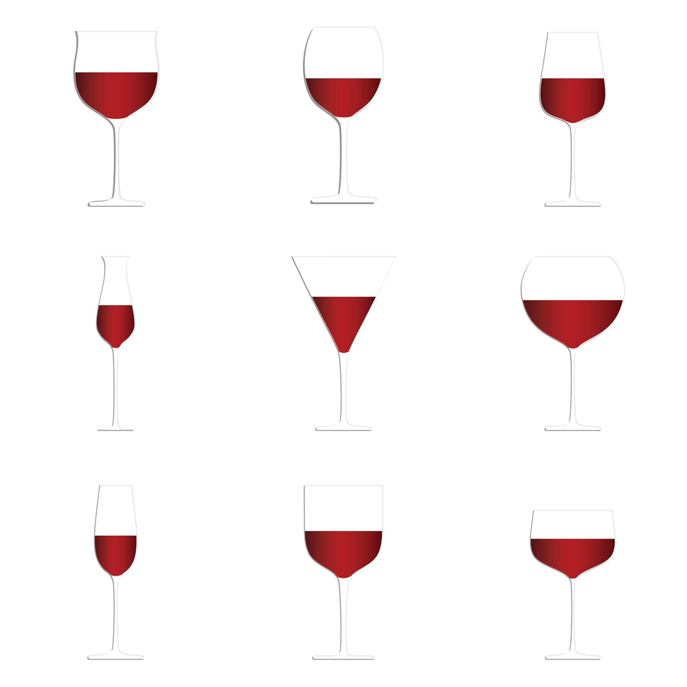 Red Wine Glasses White Background