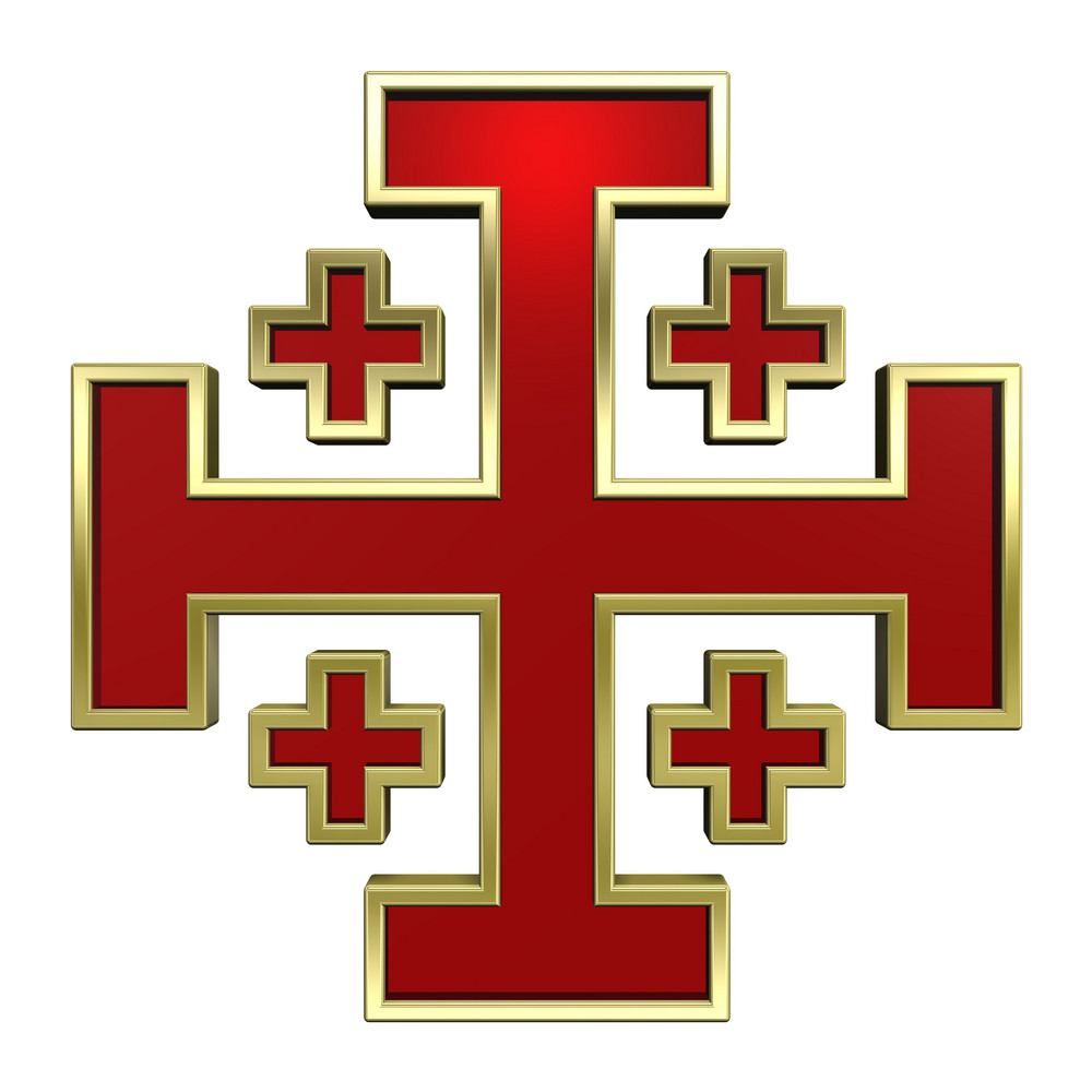 Red With Gold Frame Heraldic Cross Isolated On White.