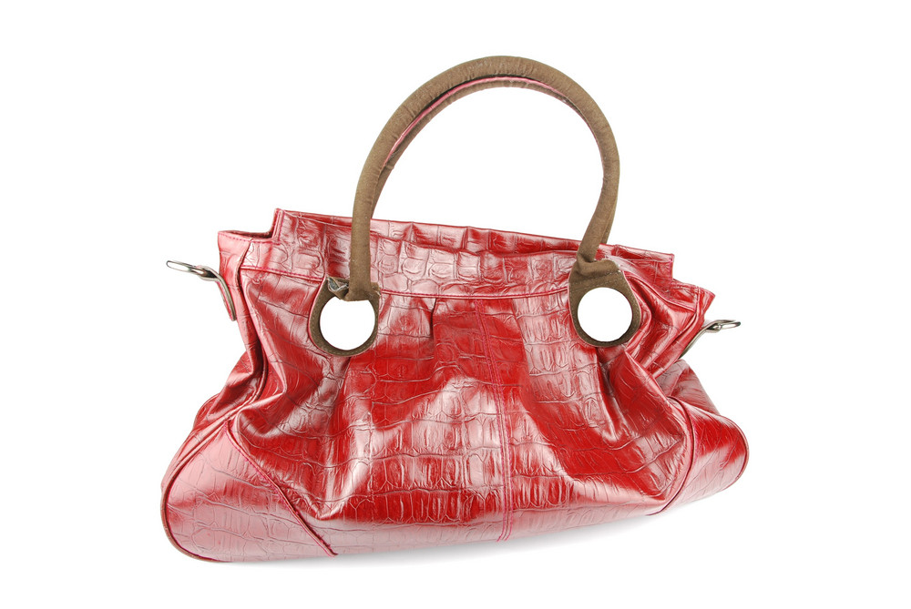 Red Woman Leather Bag On White