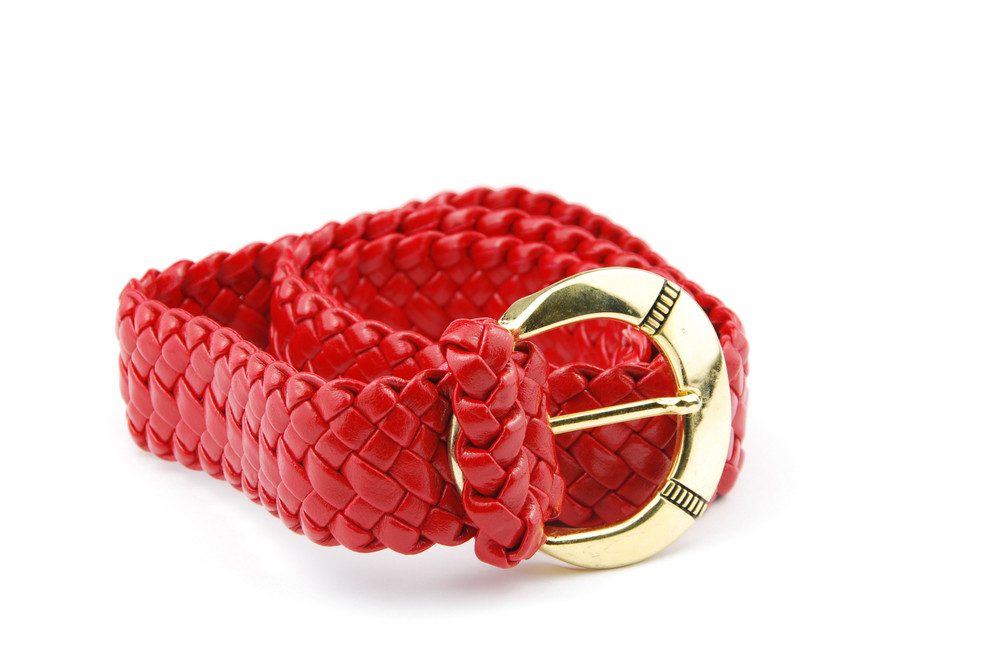 Red Woman Leather Belt On White