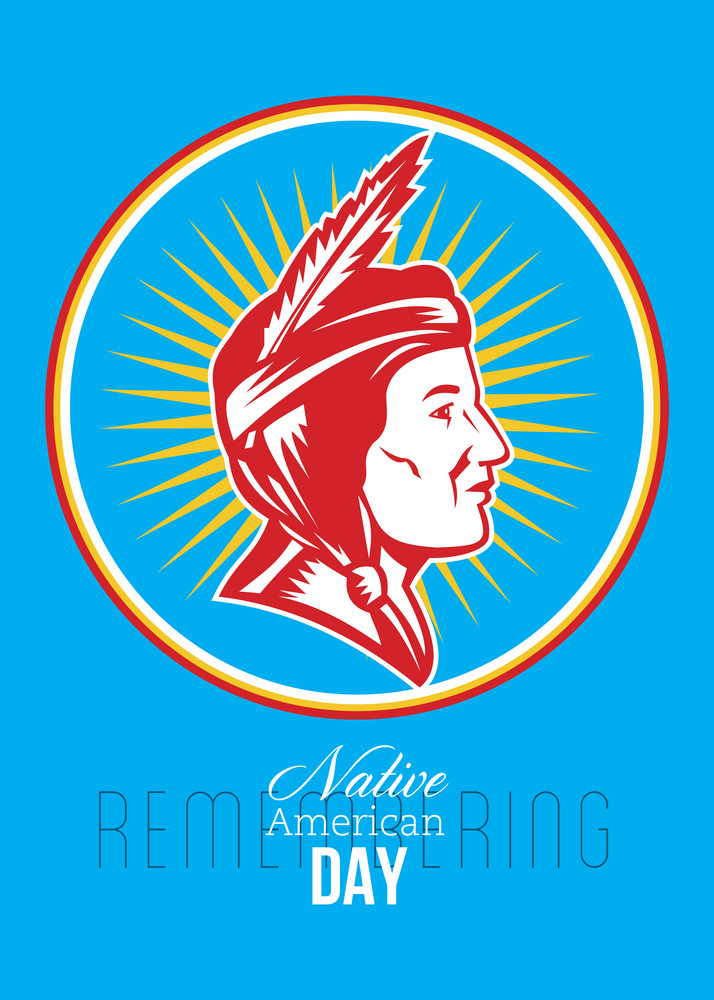 Remembering Native American Day Retro Poster Card