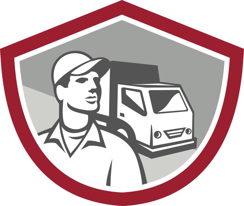 Removal Man Delivery Van Shield Retro