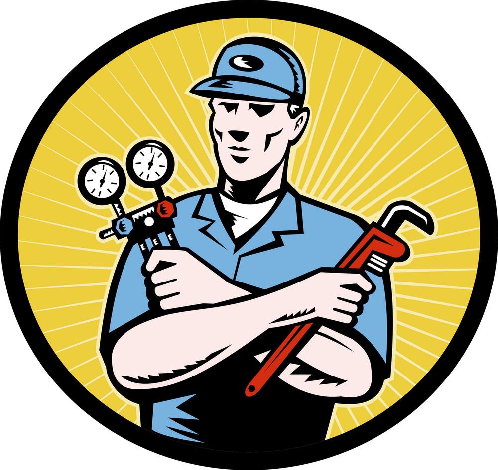 Repairman Serviceman Holding Ac Manifold Gauge Wrench