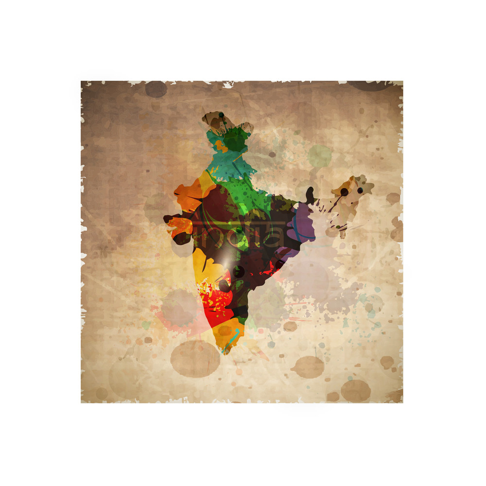 Republic Of India Map On Grungy Brown Background.