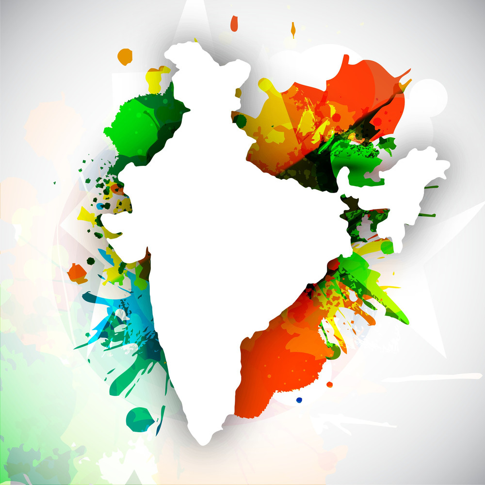 India Map Flag.Republic Of India Map On National Flag Colors Royalty Free Stock