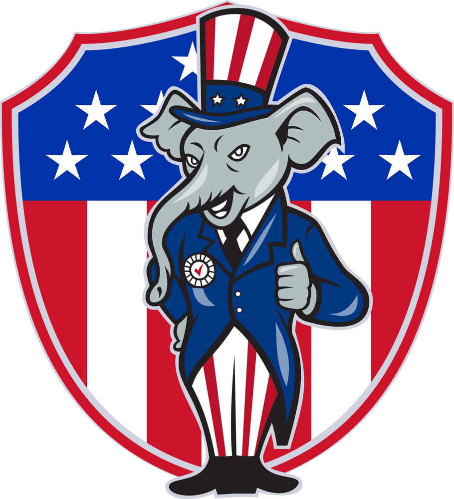 Republican Elephant Mascot Thumbs Up Usa Flag