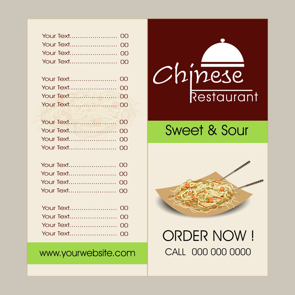 Chinese food menu card design