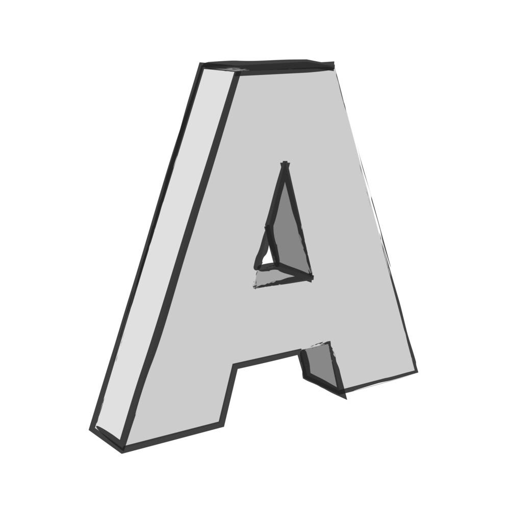 Retro 3d Alphabet A Text Vector