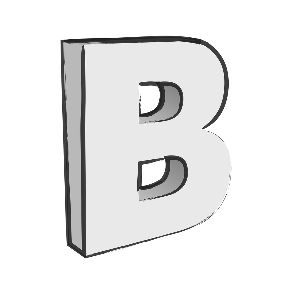 Retro 3d Alphabet B Text Vector