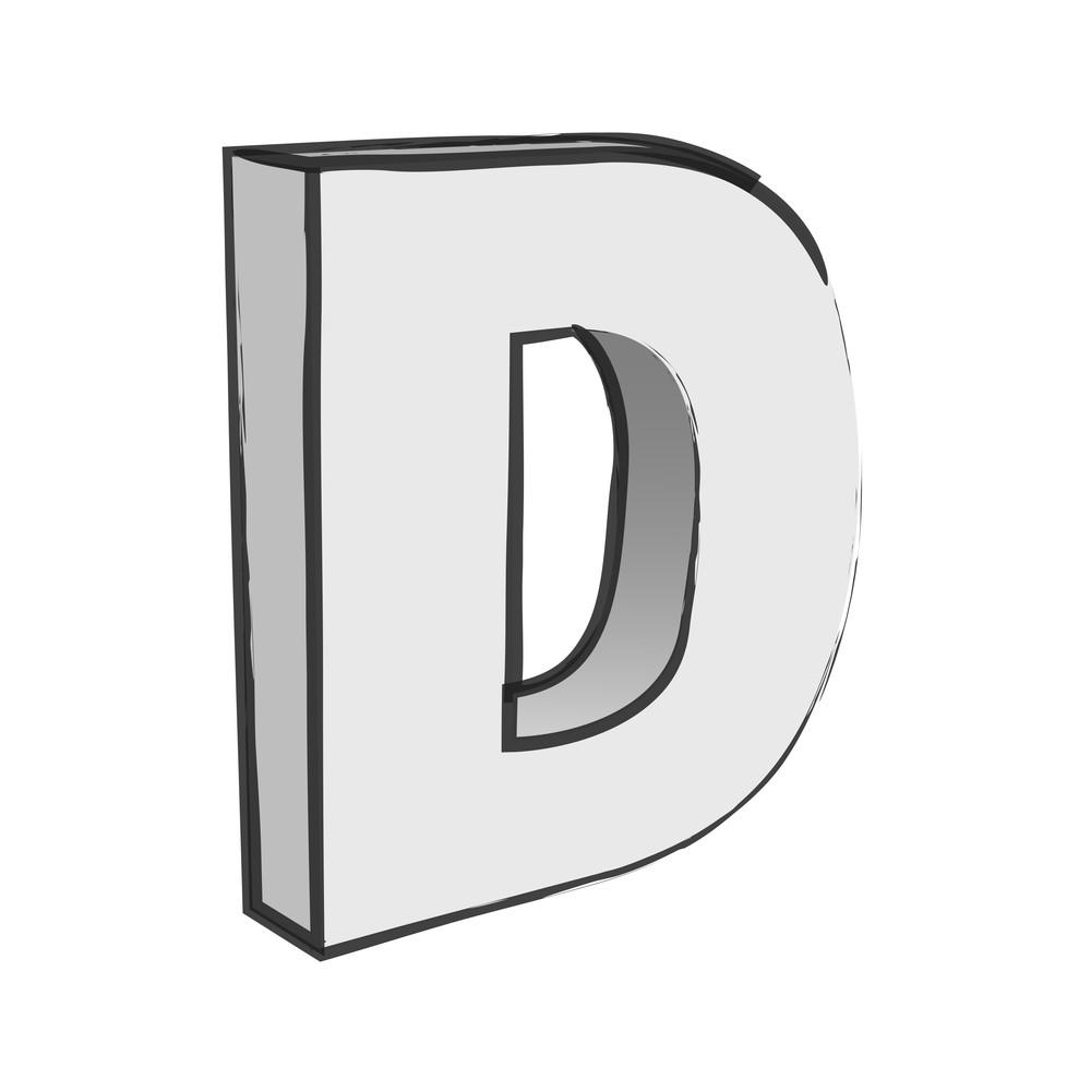 Retro 3d Alphabet D Text Vector