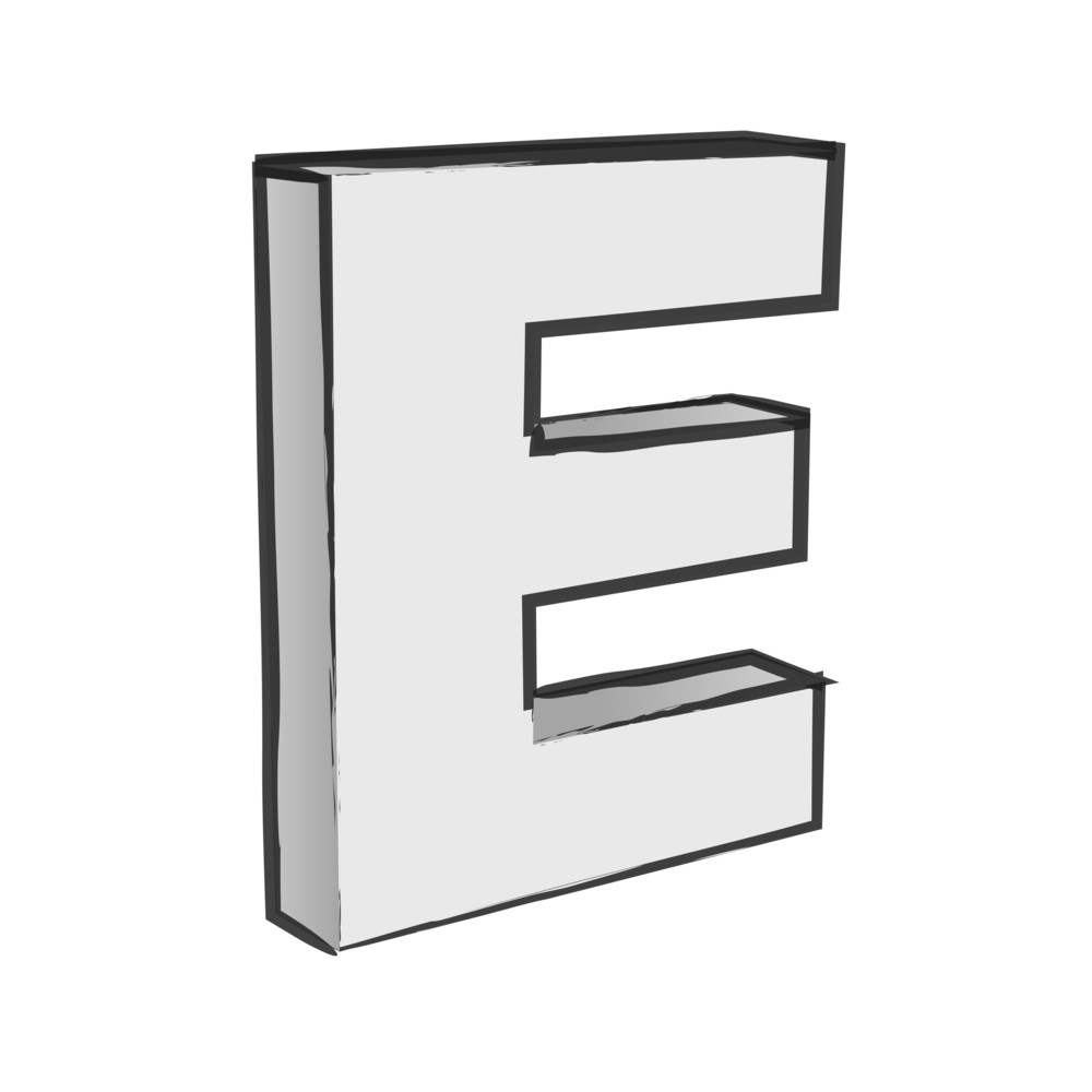 Retro 3d Alphabet E Text Vector