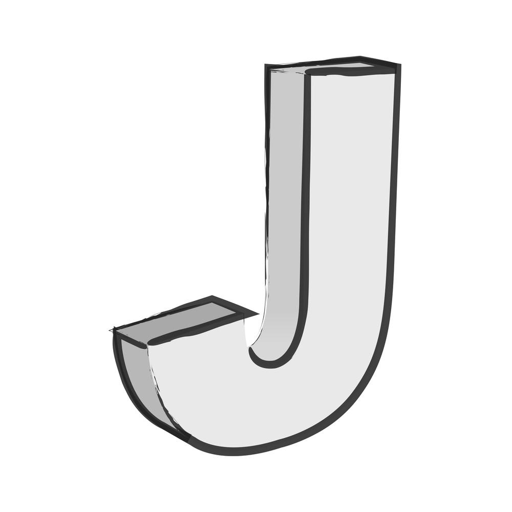 Retro 3d Alphabet J Text Vector