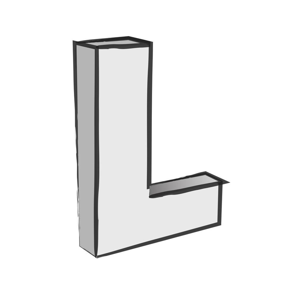 Retro 3d Alphabet L Text Vector