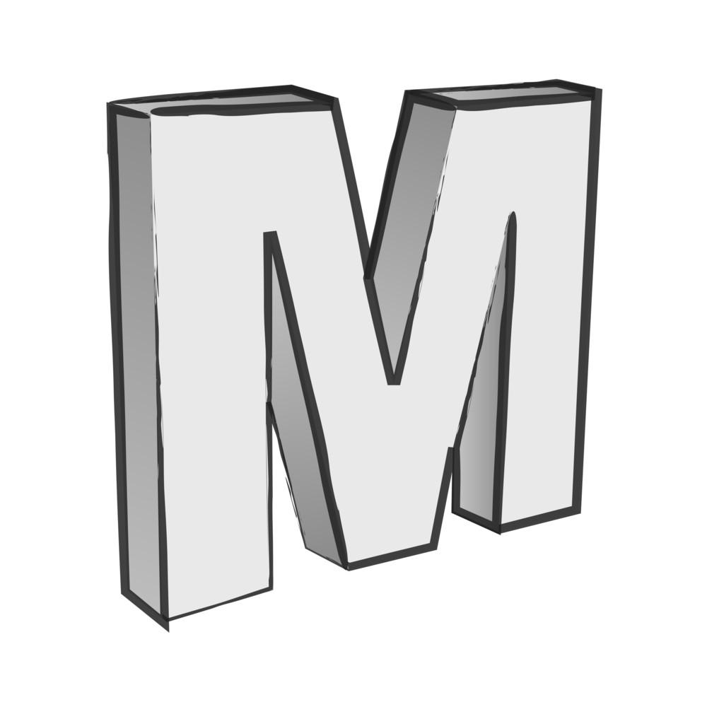 Retro 3d Alphabet M Text Vector