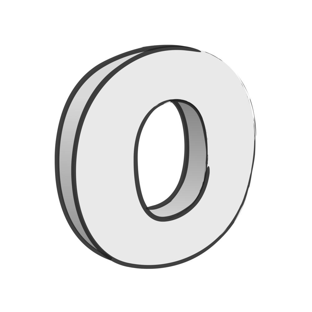 Retro 3d Alphabet O Text Vector