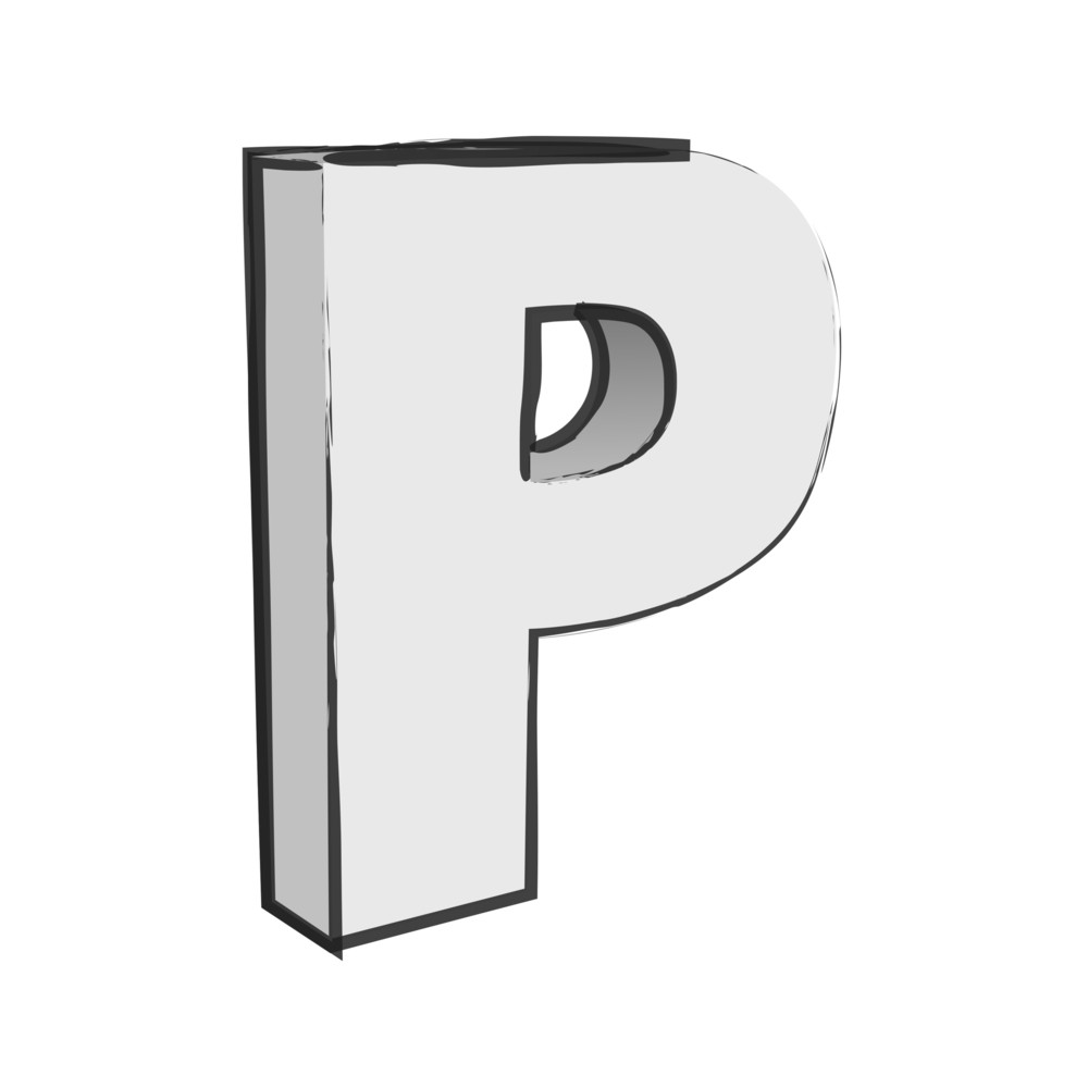 Retro 3d Alphabet P Text Vector