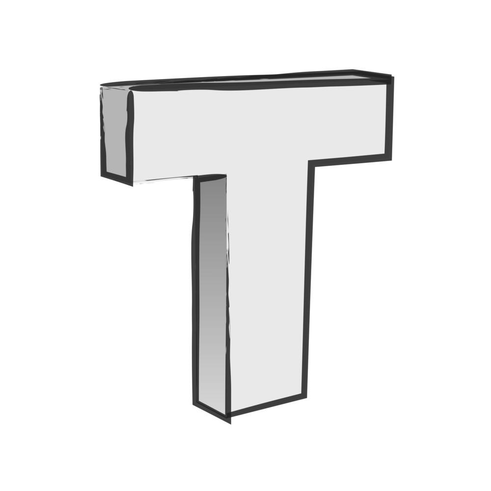 Retro 3d Alphabet T Text Vector