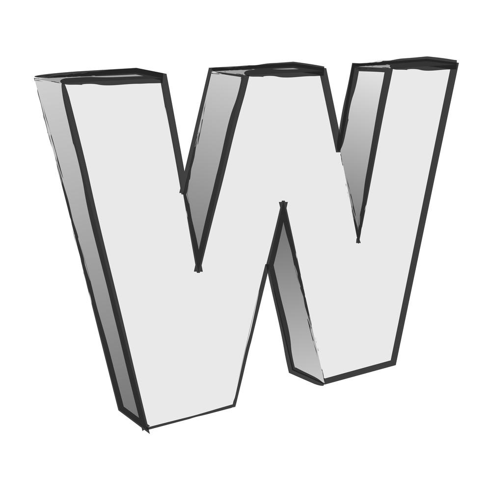 Retro 3d Alphabet W Text Vector