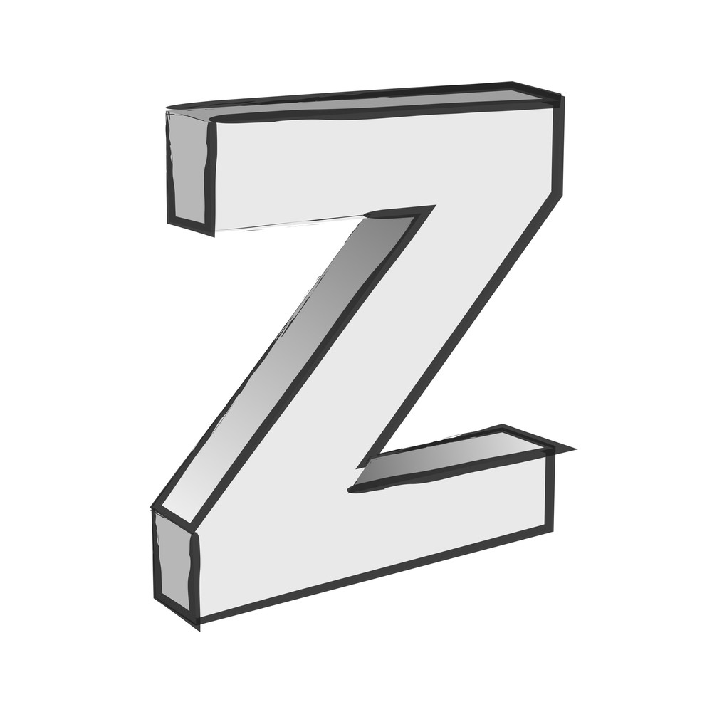 Retro 3d Alphabet Z Text Vector