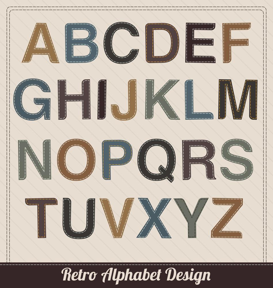 Retro Alphabet From Fabric - Uppercase