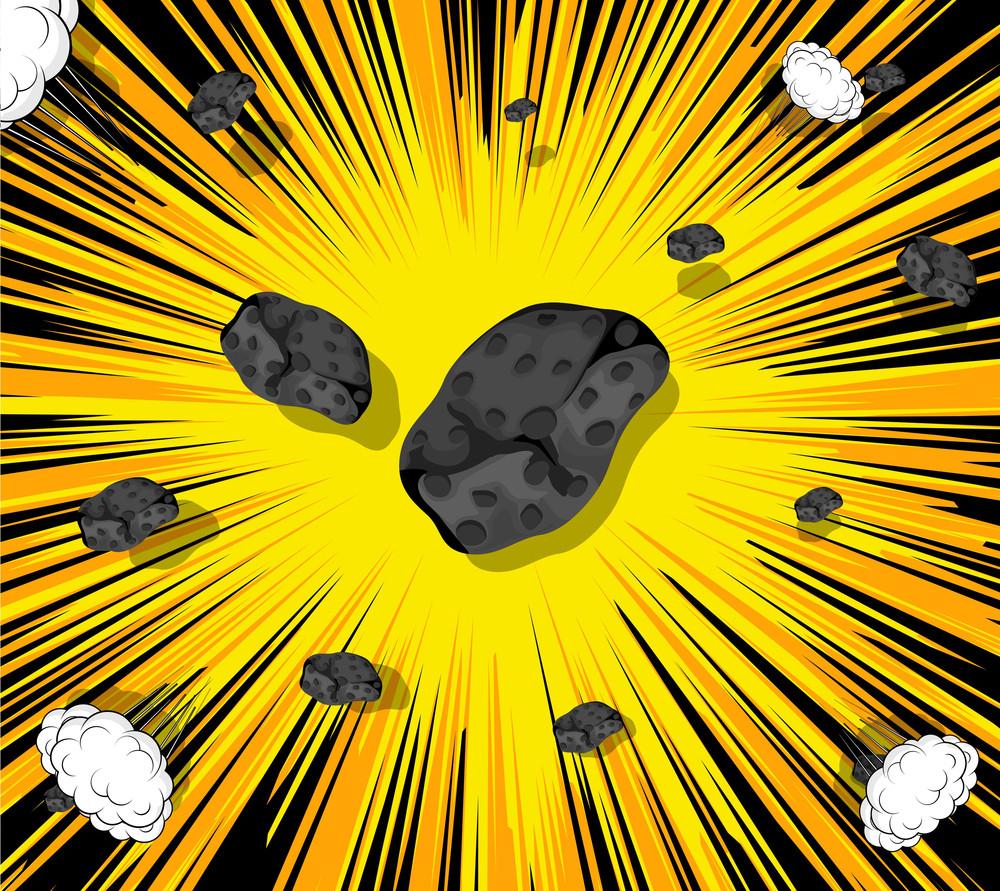 Retro Asteroids Stones Sunburst Background