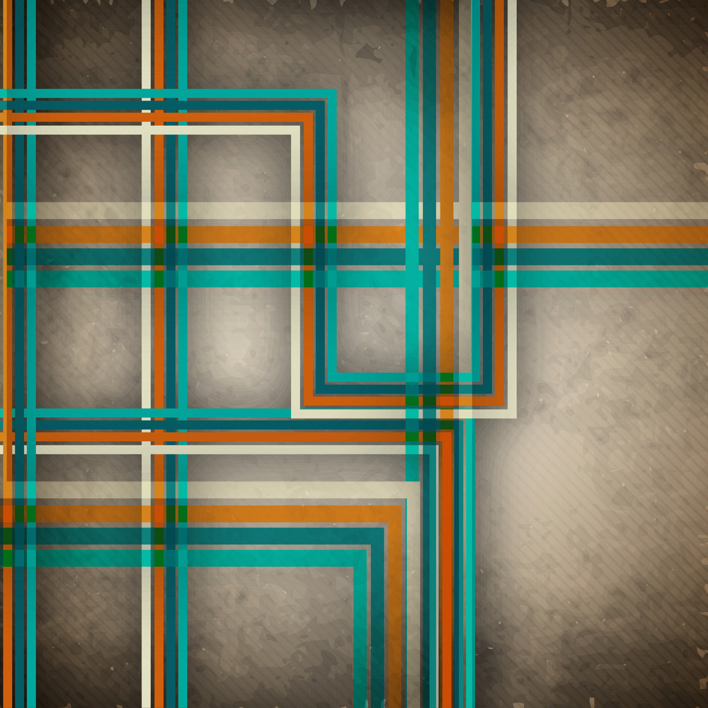 Retro Background With Abstract Lines On Brown