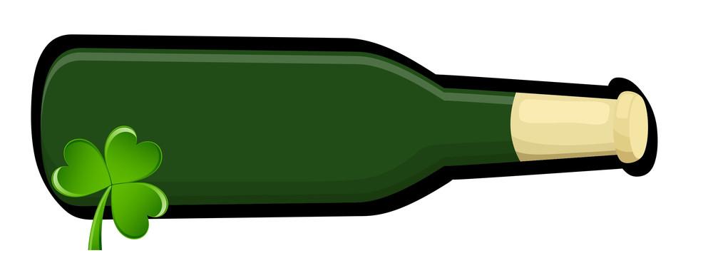 Retro Beer Bottle With Shamrock