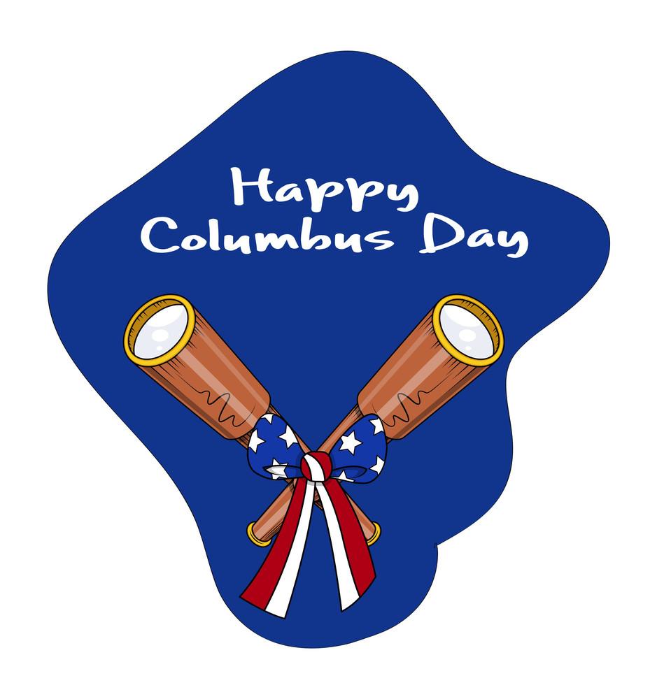 Retro Binocular With Ribbon Bow Columbus Day Background