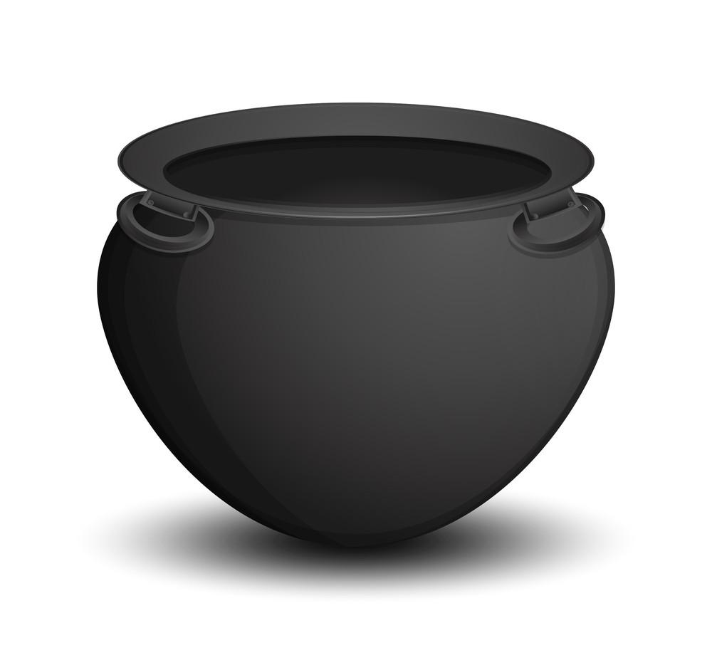 Retro Black Vector Cauldron