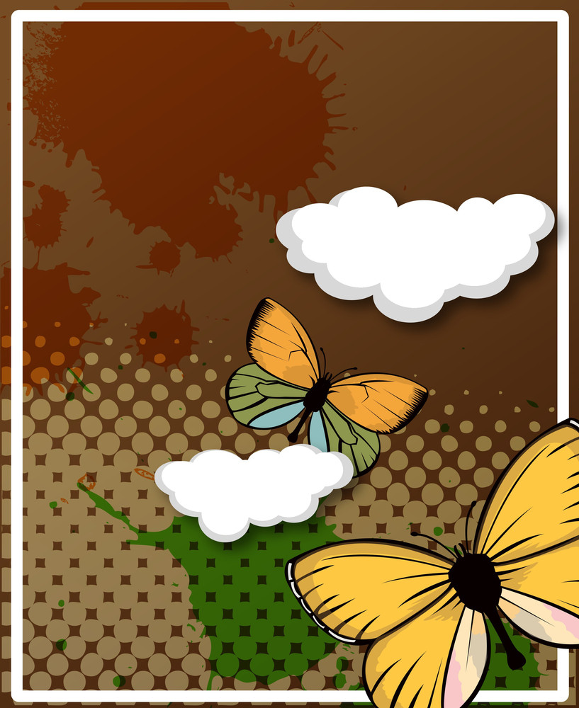 Retro Butterflies Clouds Halftone Background