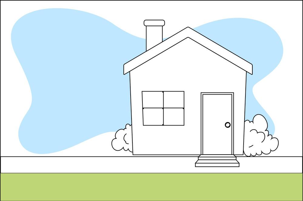 Retro Cartoon House Vector Background