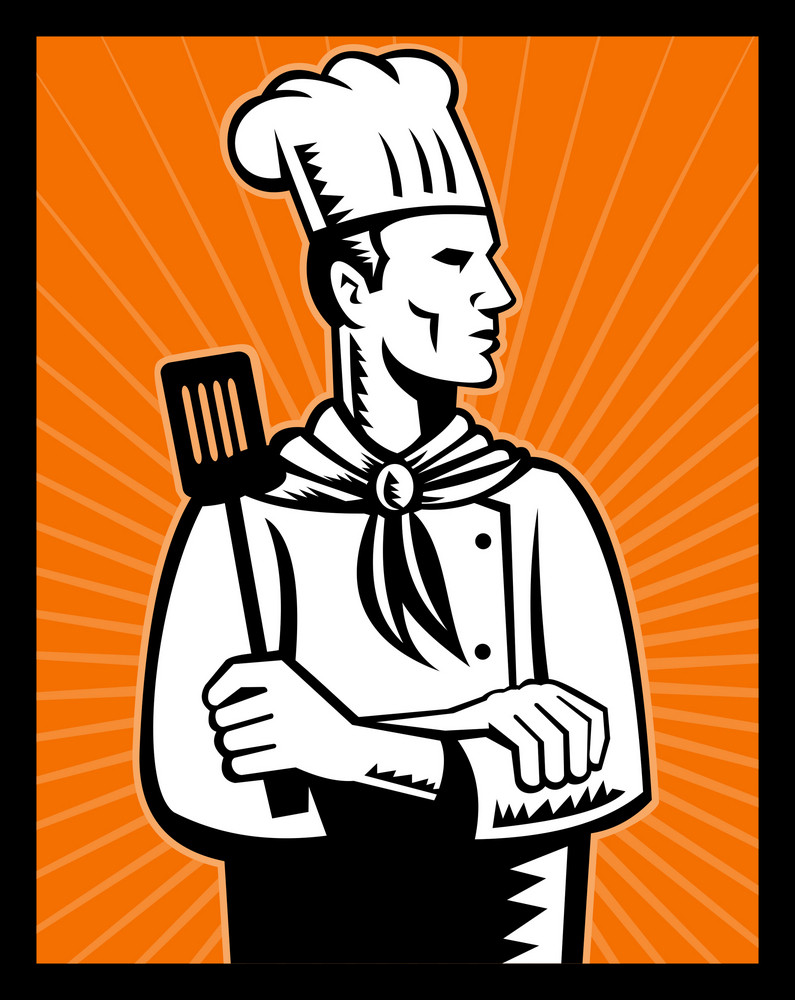 Retro Chef Cook Holding Spatula Looking Up