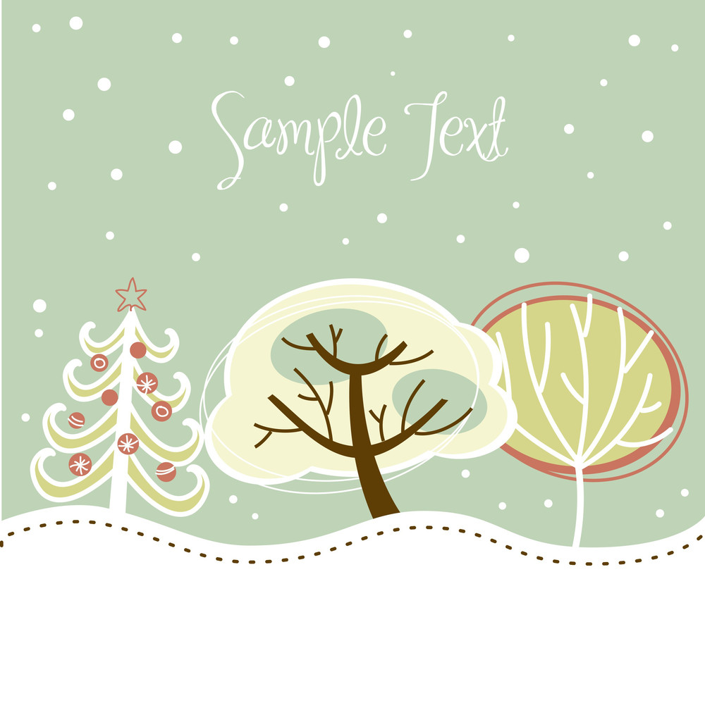 Retro Christmas Card With Cute Trees And Snow On It-