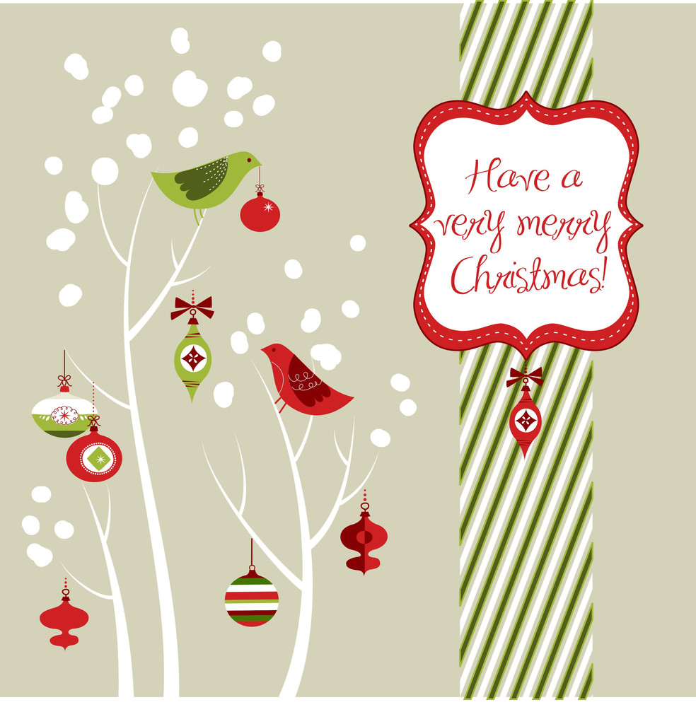 Retro Christmas Card With Two Birds