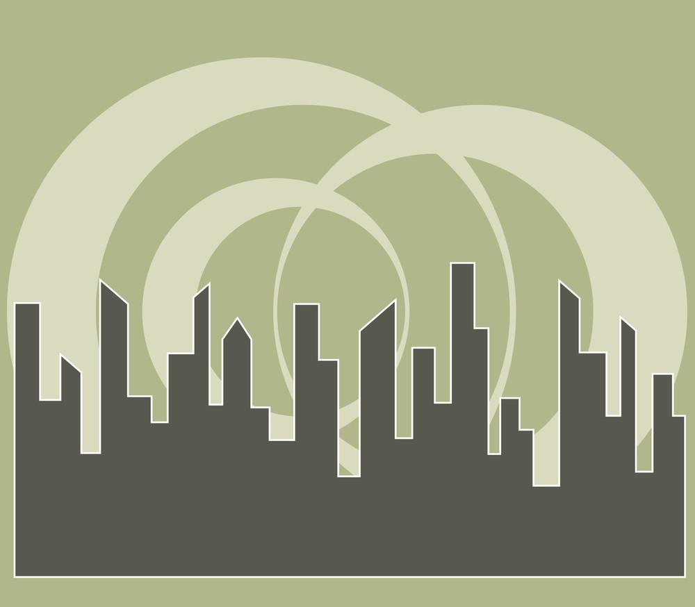 Retro Circles Skyline Background