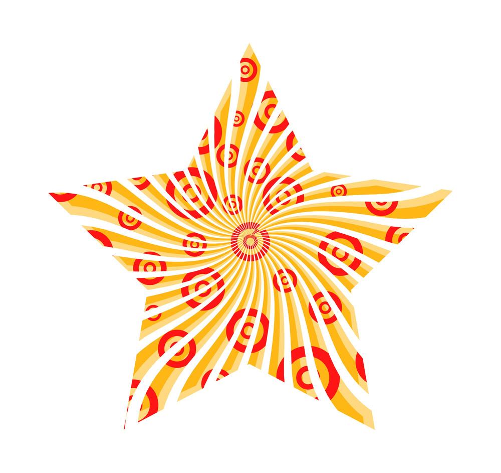Retro Circles Sunburst Star