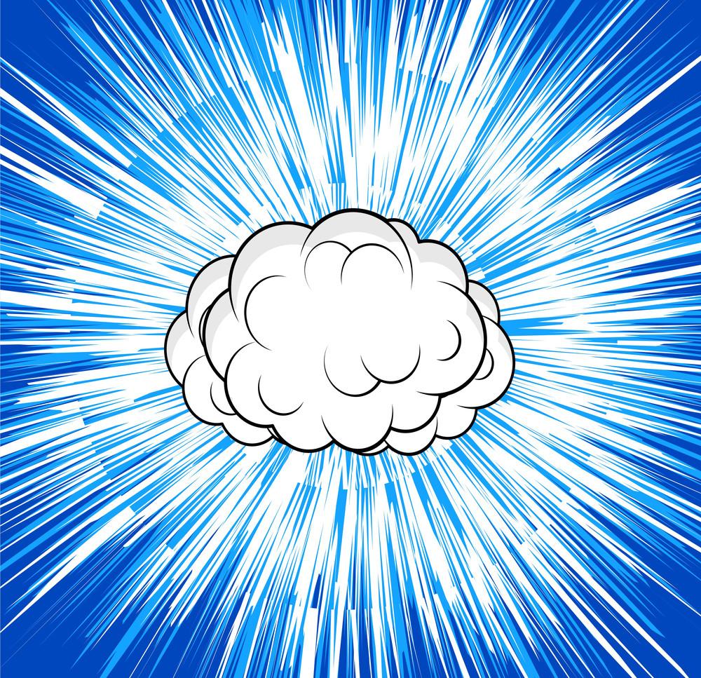 Retro Cloud Sunburst Background