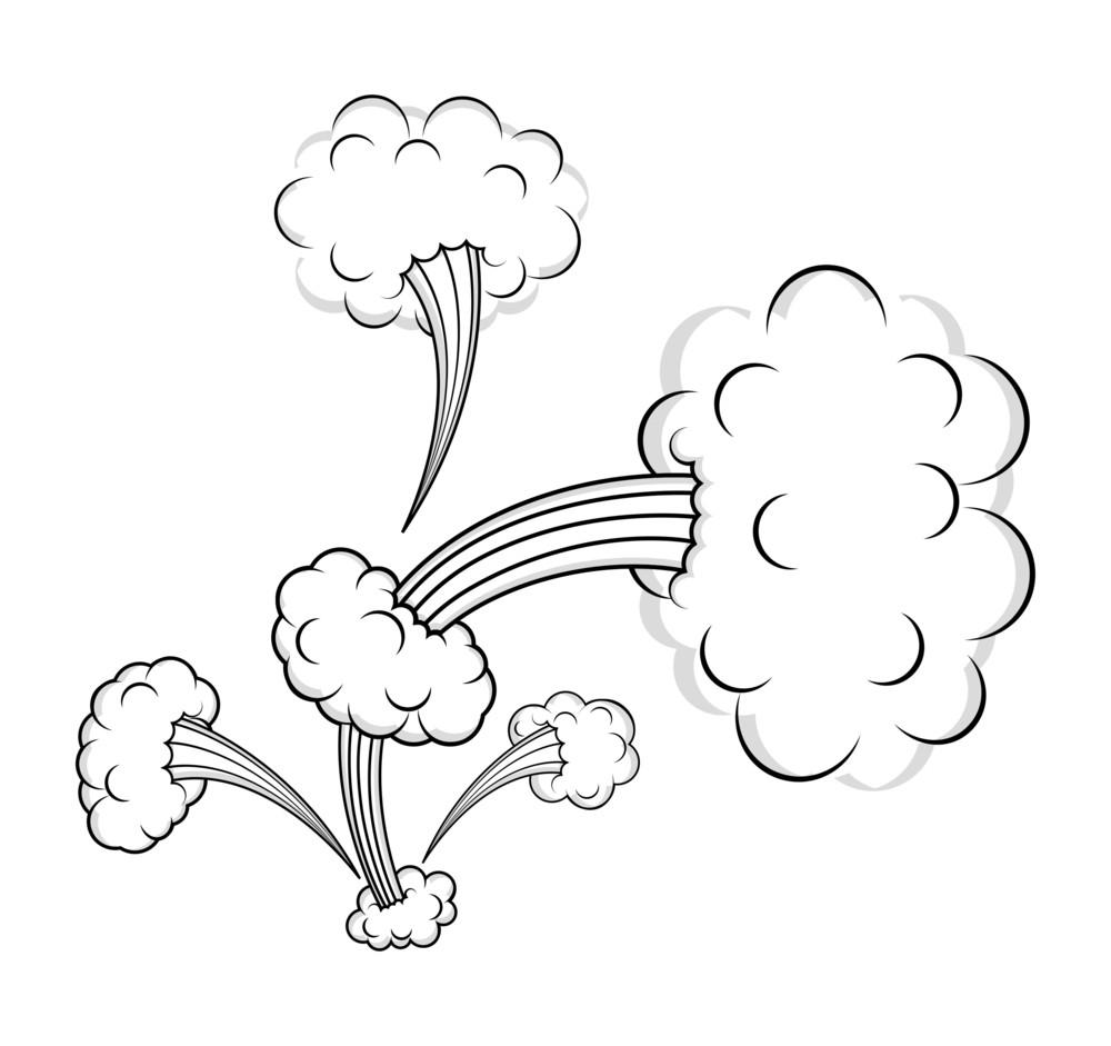 Retro Clouds Bursting Vector Designs