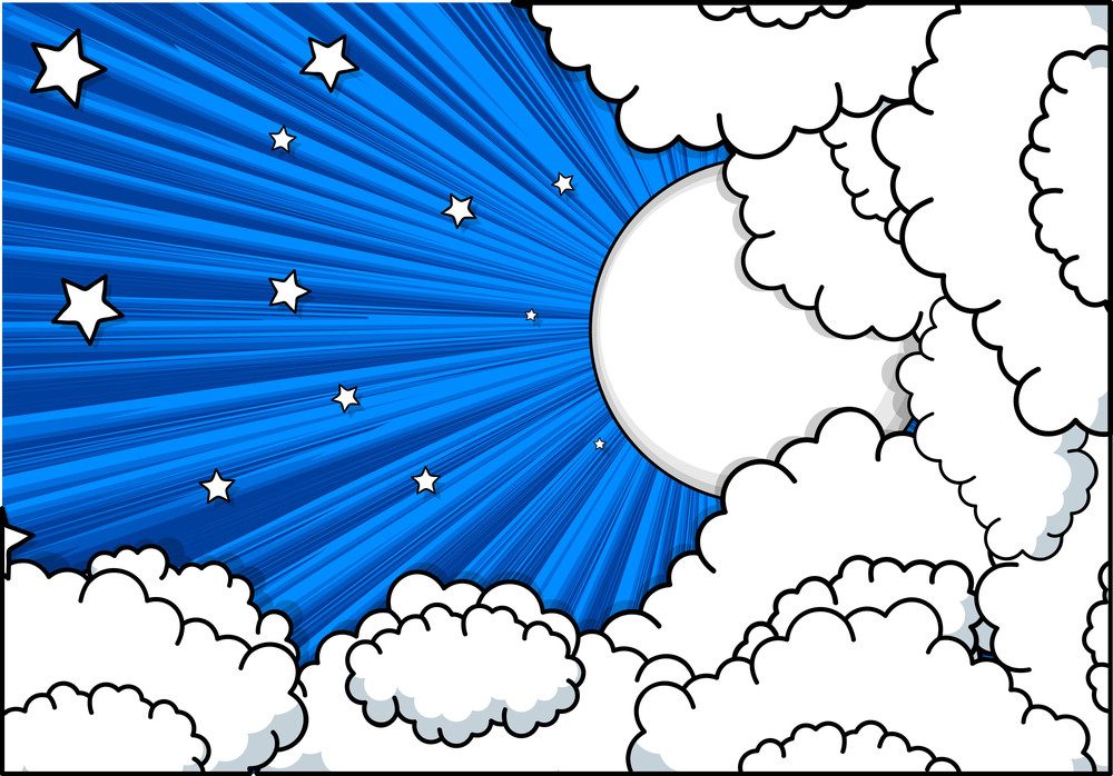 Retro Clouds Stars Background