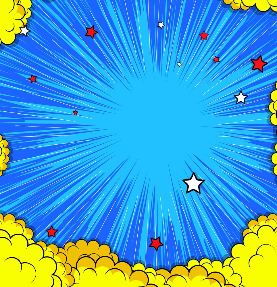 Retro Clouds Stars Background